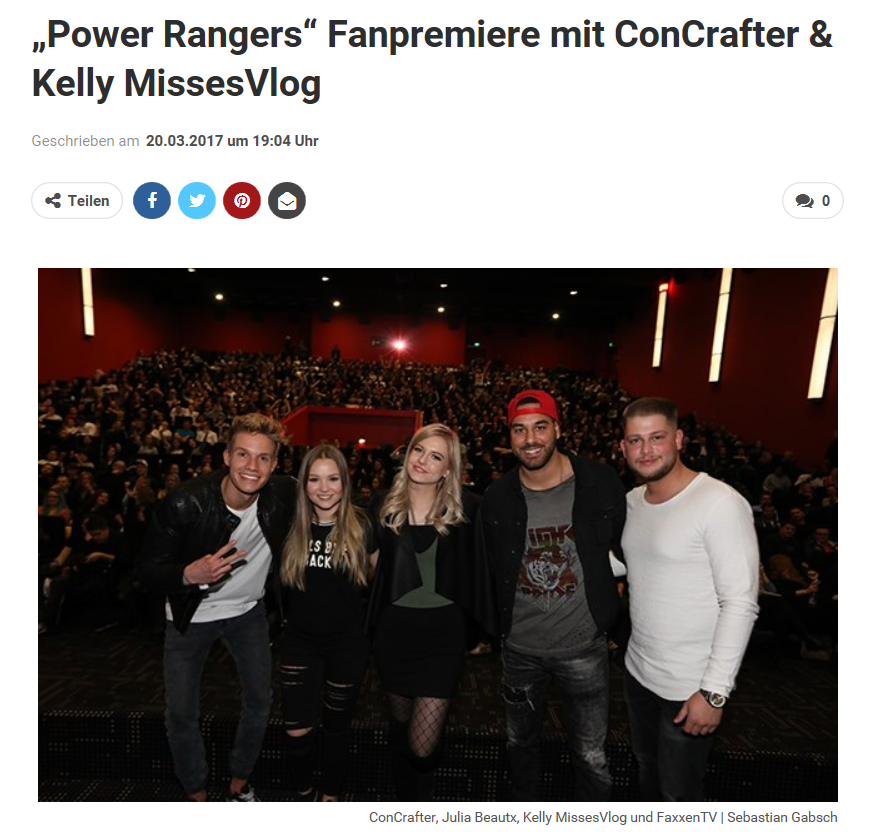 """Power Rangers"" Fanpremiere mit ConCrafter & Kelly MissesVlog"